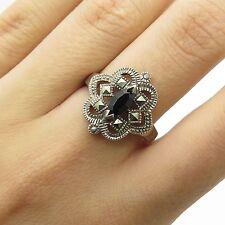 Vtg 925 Sterling Silver Real Black Onyx Marcasite Gemstone Ring Size 8