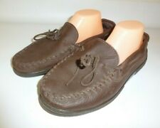 Minnetonka Moosehide Moccasin Slippers Men's Brown Leather  - US 10.5