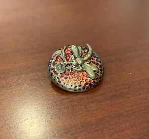 Vintage Brass Button w/ Brass Dragonfly / Flying Insect Escutcheon on Red Enamel