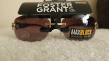 STYLISH Foster Grants JUBILEE Max Block Sunglasses RIMLESS WITH GOLD DETAIL