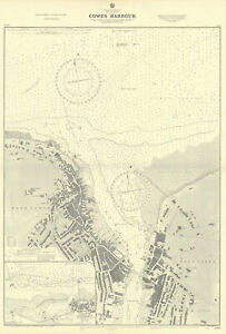 Cowes harbour, Isle of Wight. Yarmouth. ADMIRALTY sea chart 1881 (1954) map