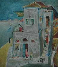 Signed Artist Proof Lithograph Lakeside Village by Israeli Artist Nahum Gutman