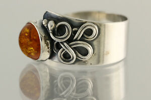 Glittering Cognac Color Genuine BALTIC AMBER Unisex Silver Ring 7.75 180703-25