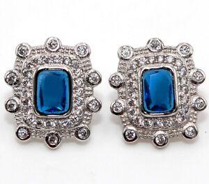 Blue Sapphire & Topaz 925 Solid Sterling Silver Earrings Jewelry