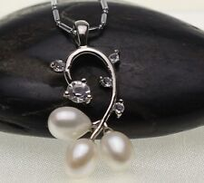Sterling Silver Freshwater Pearl Leaf Waterdrop Zirconia Pendant Necklace Box AB