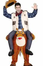 Carry Me Horse and Cowboy Costume Adult Mens Funny Ride On Shoulders Humorous
