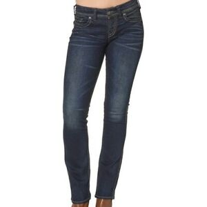 Silver Jeans Co. Womens Suki Slim Boot Cut Denim Blue Stretch 33 X 31 New