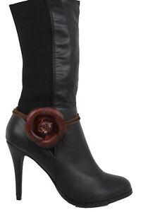 Women Boot Bracelet Brown Leather Strap Wrap Around Shoe Anklet Big Flower Charm