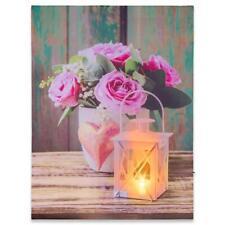 Wandbild LED Kunstdruck mit Beleuchtung Rose & Lampe 30x40 cm Batterie Timer