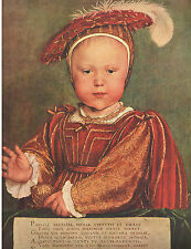 "1954 Art Print ""Edward VI as Prince of Wales by Hans Holbein Free Shipping"