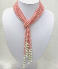 Natural 3 Rows 52 inch 4mm Pink Coral & 7-8mm Freshwater Pearl Necklace