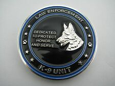 Law Enforcement / Police - Blue/Black K9 Unit Challenge Coin- Thin Blue Line
