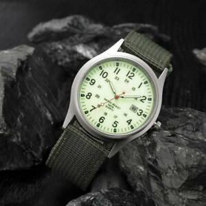 Military Army Men's Date Canvas Strap Analog Quartz Sport Wrist Watch UK Stock