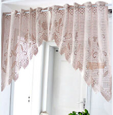 Vintage Style Lovely One Piece Rose Filet Lace Coffee Color Curtain Swag