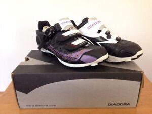 NEW Diadora Black Purple X-Trail Road Cycling Bike Shoes Womens US 6.5 EU 37