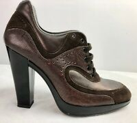 Hogan High Heel Leather Shoe Boot Lace Up Size 4 (36.5) Brown Platform Italian