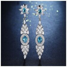 DF103 Made Swarovski Crystals The Starlette Silver & Blue Long Earrings $124