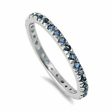 Ring Sterling Silver 925 Blue Sapphire CZ Rhodium Plated Band Width 2 mm Size 10