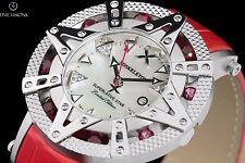 New Xoskeleton Superlative Star Ladies Swiss Quartz Red Ruby 41mm Leather Watch