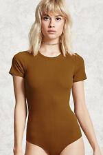 Forever 21 Ribbed Knit Bodysuit Sunset gold  Size Medium
