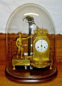 Antique La Roy A Paris Bronze Hunting Mantel Clock In Glass Dome -Needs TLC