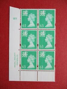 SGW82 Elizabeth II Wales 1997 63p Light Emerald Walsall Cylinder Block W1 MNH