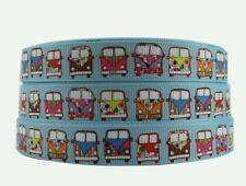 1 Metre VW Campervan Grosgrain ribbon 25mm Crafts/Party/Cake/Hair/Bows/Gift
