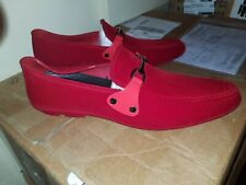 Mens Red Rubber Suede Horsebit Loafers Size 8/42