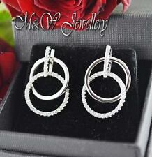 925 Sterling Silver Rhodium Plated Stud Earrings CIRCLES with ZIRCONIA
