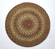 "Homespice Decor HARVEST Braided Jute 15"" Round Placemat, Trivet"