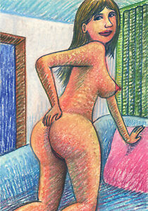 Original+Aktzeichnung+Pastell+Nu Dessin+Nude+Female Drawing+ Senbei Art+Nr227