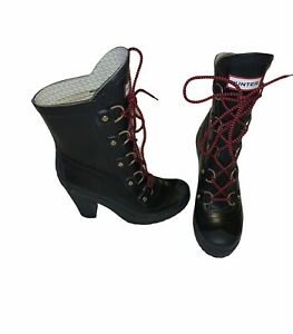 """HUNTER GABBY LAPIN LONNY BLACK 4"""" HIGH HEEL PLATFORM RED LACED RUBBER BOOTS US 7"""
