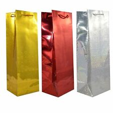 12 X Holographic Wine Bottle Gift Bags Party Wedding Christmas Birthday Presents