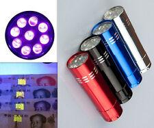 Mini Aluminum UV ULTRA AD VIOLET 9 LED FLASHLIGHT CI BLACKLIGHT Torch Light Lamp