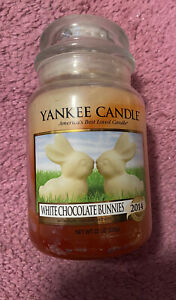 Yankee Candle Large Very Discoloured Jar Of White Chocolate Bunnies Retired Rare