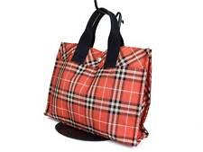 Auth BURBERRY LONDON BLUE LABEL Nylon Canvas Orange Red Hand Bag BT15885L