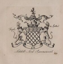 1779 ANTIQUE PRINT ~ LIDDELL ~ FAMILY CREST COAT OF ARMS LORD RAVENSWORTH