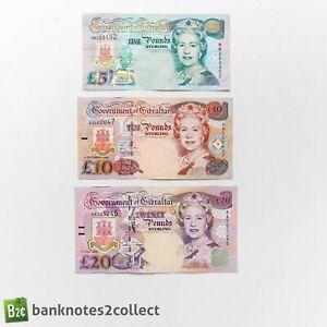 GIBRALTAR: Set of 3 Gibraltar Pound Banknotes.