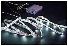 LED Stripe weiß - 3m / 90 LED - Streifen m Batterie - Band Leiste Strip kaltweiß