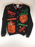 Alexandra Bartlett Womens L Halloween Pumpkin Holiday Cardigan Sweater Teacher