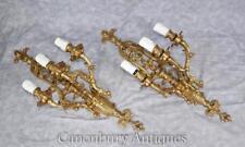 Pair Louis XVI Gilded Sconces Gilt Wall Lights Appliques