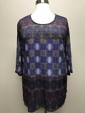 CATHERINES NAVY BLUE EMBELLISHED 3/4 SLEEVE PRINTED KNIT TOP PLUS Sz 4X 30/32W