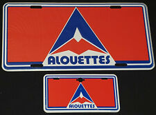 1980's MONTREAL ALOUETTES CFL AUTOMOBILE + BICYCLE LICENSE PLATES (2) - ORIGINAL