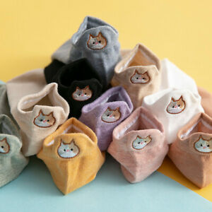 Women Cute Boat Socks Embroidery Small Cat Cotton Short Socks Casual Ankle Socks