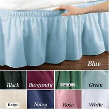 Solid Color Bed Skirt Queen Twin Full Ruffle Elastic Bedspread Corners Wrap Drop