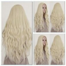Sexy Light Blonde Long Wavy Curly Womens Cosplay Party Heat Synthetic Hair Wigs