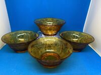 """VTG Lot Of 4 Indiana Glass Amber Tiara Bowls, 5.25"""" Across X 2.5"""", Footed, Tag"""