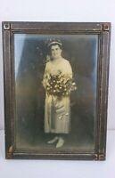 Vintage Mid Century black and white Photo  woman white dress flower Framed 16x12