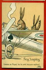 PILOT RABBIT AND AIRPLANE VINTAGE POSTCARD 2809