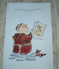 Vintage CHRISTMAS Greeting Card - NORCROSS - Monk Singing Musical Scale - Kitten